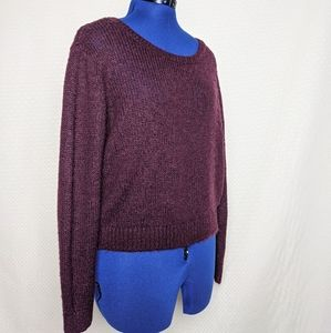 H&M divided burgandy knit long sleeve sweater